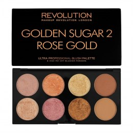 Makeup Revolution Ultra Blush Palette 8 Zestaw do konturowania twarzy Golden Sugar 2 Rose Gold 13g